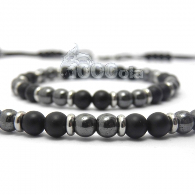 6741da31344 Ensemble bracelet+collier homme perles 6mm agate onyx noir mat + hématite +  métal inoxydable inox