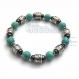 Bracelet homme perles métal couleur argent vieilli naturelle pierre howlite couleur turquoise hématite 6mm