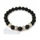 Bracelet homme perles agate noir mat (onyx) 8mm perle en métal couleur argent style antique