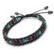 Bracelet homme/femme style shamballa cuir vÉritable perles Ø 6mm pierre naturelle picasso jasper, hématite gris, howlite