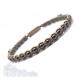 Bracelet style shamballa homme/men's perles/beads + hématite noir 4mm+ fil nylon beige