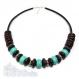 Collier femme fil cuir véritable perles pierre naturelle howlite couleur turquoise 14x8.5mm bois métal