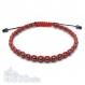 Bracelet style shamballa homme/femme perles hématite noir 4mm+ fil nylon rouge