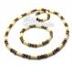 Ensemble collier + bracelet style femme perles naturelle bois + hematite couleur blanc marron noir