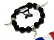Ensemble bracelet+collier style shamballa homme/femme perles acrylique noir mat + hematite+ métal couleur argent vieilli ails