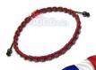 Bracelet style shamballa homme/men's perles/beads + hématite cubes 3mm+fil nylon rouge