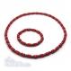 Ensemble collier + bracelet style surfeur/surf homme perles naturelle bois + hematite rouge-noir