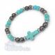 Mode tendance bracelet homme/femme perles 6mm croix 16x12mm pierre naturelle howlite couleur turquoise + hématite + anneaux