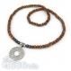 Ensemble collier + bracelet homme perles naturelle bois marron, hématite 6mm noir, pendentif en acier inoxydable 3.9cm