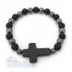 Bracelet homme perles 8mm agate noir mat (onyx) hématite croix pierre naturelle howlite 30x22mm
