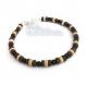 Bracelet homme/femme perles agate noir mat bois naturelles cocotier/coco fermoir mousqueton