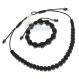 Ensemble bracelet+collier style shamballa homme/men's perles acrylique noir mat + hematite+ fil nylon