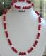 Parure en corail ,pierre de l'arthrite et l'arthrose, perles 6mmx3 et perles cristal de roche 6mm