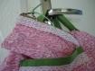 Ravissante petite trousse rose et verte accompagnÉe de sa pochette
