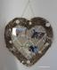 Pèle mêle cœur xl en bois flotté, céramique et vieilles dentelles