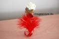 Contenant à dragée tube en verre rose blanche et plume rouge