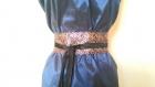 Ceinture obi en soie brochée multicolore et réversible en satin noir à nouer , taille unique réglable