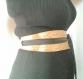 Ceinture obi en soie brochée noir et or , ceinture réversible esprit japon en satin noir à nouer , taille unique réglable
