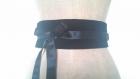 Ceinture obi en velours noir réversible en satin de soie noir à nouer , taille unique et réglable