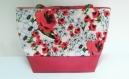 Le sac cabas coquelicots , sac en coton fleuri et simili cuir rouge pour le printemps