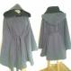 Veste cape romantique à large capuche en drap de laine-polyester (type caban ) gris doublée de noir
