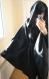 Veste cape romantique à large capuche en drap de laine-polyester (type caban ) noir