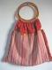 Sac cabas en coton rouge doublé de soie à grandes anses