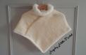 Poncho bébé en laine écru