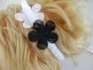 Serre-tête, fleur en dentelle, noir et blanc