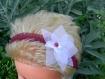 Headband,bijoux mariage, organza bordeaux et blanc