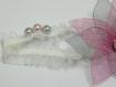 Headband, ruban mariage, fleur en organza rose et gris