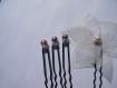 Pic à chignon lot mariage fleur en organza ivoire parme