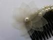 Peigne à cheveux, mariage, fleur en organza ivoire