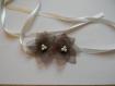 Headband mariage satin ivoire fleur en organza chocolat.