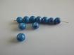 Lot de 10 perles bleu turquoise et fushia