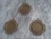 Lot de 3 supports cabochons 20mm bronze