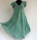 Robe été à manches tulipe en viscose écrue , imprimée motifs vert