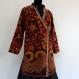Tunique-veste femme croisée en coton imprimé kalamkari , col officier , manches longues