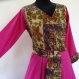 Robe cache coeur, robe croisée en coton léger fuchsia et imprimé fleurs