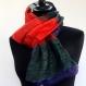 Grand snood, écharpe tube, en soie et polyester voile saumon, vert et violet