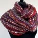 Snood, écharpe , en brins laine tissés multicolore , doublé coton fuchsia