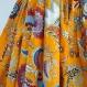 Jupe courte jaune soleil et multicolore en coton imprimé paisley , 36 pans avec écharpe / ceinture assortie