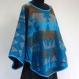 Jupe courte bleue et multicolores en coton imprimé paisley , 36 pans avec écharpe / ceinture assortie