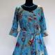Longue robe d'intérieur , robe d'hotesse ample en coton léger motif paisley bleu et multicolore
