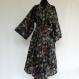 Kimono robe de chambre noir dessin paradise