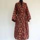 Kimono robe de chambre rouge et beige à dessins pailsley
