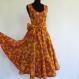 Robe longue jaune à fleurs en coton imprimé paisley sans manches