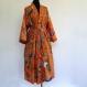 Kimono robe de chambre orange et multicolore à dessins pailsley