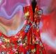 Robe longue rouge à fleurs en coton collection shalimar sans manches