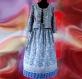 Jupe longue bleue et blanche block print ethnique indien froncée à la taille avec ceinture